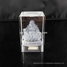 2017 souvenirs cristal bloc 3D blanc laser gravure sur verre, verre blanc cube 3D cristal laser gravure