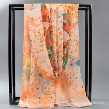 Confortável Mulheres bonitas impressão por atacado DIGITAL PRINT SATIN SATIN chiffion grande longo lenço de seda da malásia 2017