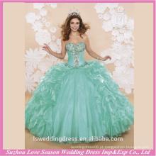 LQ0002 Moda sem alças sem mangas de contas de cor verde vestido de bola superior saia grande projete seus vestidos de festa vestido quinceanera