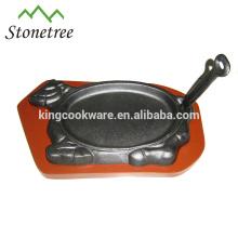 spezielles Design für Gusseisen brutzelnde Steakplatte