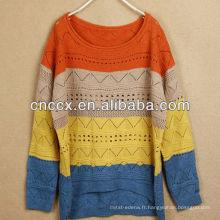 12STC0589 chandail tricoté coloré conçu pull femme