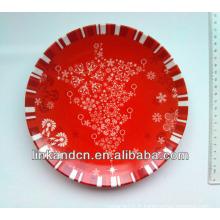 Plaque de fruits en céramique rouge de la meilleure qualité avec le design de neige, décorer la assiette