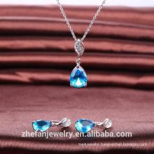 necklace fashion women pear shape stone jewelry set