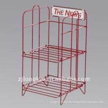 Fabrik direkt maßgeschneiderte billig stabile 2 Ebenen Metall freistehende Broschüre Stand
