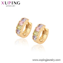96829 xuping fashion hoop boucles d'oreilles en pierre multicolore plaqué or