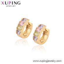96829 xuping moda aro banhado a ouro brincos de pedra multicolor