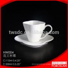 hotel de venta caliente de compras en línea utilizar plato y taza de cerámica de porcelana fina