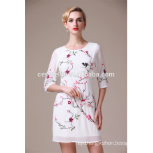 New Fashion elegant Chinese Apricot Floral Dress Short Sleeve Evening Dress