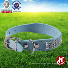 Hot sell real leather and PU leather rhinestone dog collar