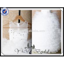 FG6 Real Sample Puffy Tulle Skirt Vestido de casamento longo para crianças