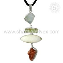 Новый изящный солнечный камень, швабра, Аквамарин драгоценных камней Кулон ручной работы 925 ювелирные изделия стерлингового серебра ювелирные изделия Джайпур онлайн