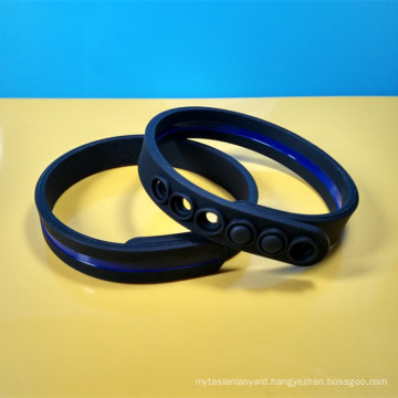 Adjusted silicon wristband, Customized silicon bracelet with silicone button clip