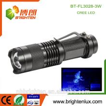 Fabrik Versorgung Tasche Zoomable Aluminium Mini 3W Skorpione Jagd Lila Licht High Power ultravioletten schwarzen Licht für Insekt