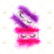 3D lashes with Feathers box Diamonds girly lashes