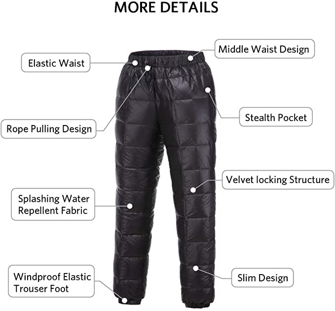 Men S Women Winter Warm Utility Down Pants Sassy High Waisted Nylon Compression Snow Trousers2