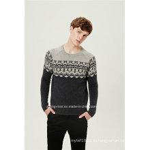 50% овечья шерсть50% нейлоновый жаккардовый пуловер вязаный свитер для мужчин