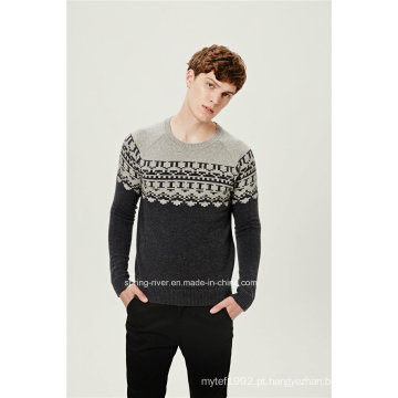 50% Lambs Wool50% Nylon Jacquard pullover camisola de malha para homens