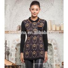 100% кашемир женщин поло шеи свитер печати