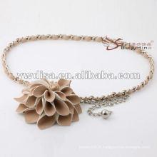 Chaussure à fleurs féminine à la mode en PU avec la meilleure conception de gomme en chaîne de YIWU DISHA