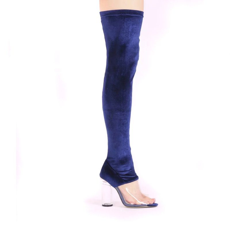 Blue suede PVC stitching over knee booties