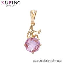 32866 venda Quente mulheres elegantes jóias deusa projeto círculo em forma de pingente de pedras preciosas coloridas