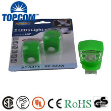 Wrap-Around Band LED Bike Lights - Front & Rear - 2 Super-Bright LED - Lithium Wafer Batteries Included