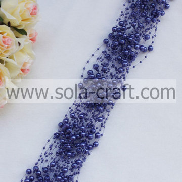 Variation Violet Blue Wire Pearl Beaded Chains With 3+8MM Beads