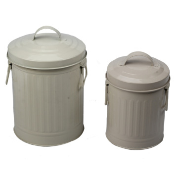3L Matel Painting White Waste BinSet of 2szt