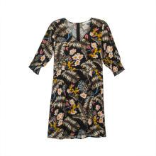 Mini vestido feminino de manga curta com decote em V