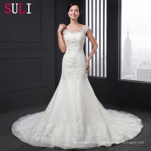 Q-010 High Quality Tulle Lace Appliques Beaded Mermaid Wedding Dress 2016