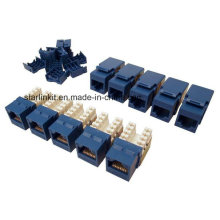 Cat5e UTP Keystone Jack 90 graus 10PCS saco azul