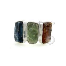 Belle bague en pierres précieuses en argent sterling de kyanite bleue, verte et orange