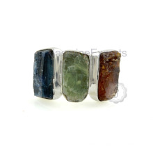 Красивый синий, зеленый и оранжевый Кианит стерлингового серебра кольцо gemstone
