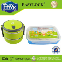 caixa de almoço bento empilhável em aço inoxidável de dupla camada