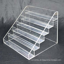 6 Tiers Clear Perspex Display Shelf, OEM / ODM Acrylic Pop Display Stands