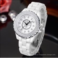 Design do cliente movimento de quartzo relógio de plástico senhora