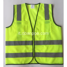 Tasche di sicurezza Vest Zipper Traspirante Neon Yellow