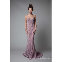 Elegant Purple Beading Sheath Prom Party Cocktail Eveninmg Gown