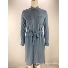 moda tencel denim tecido cinto senhoras camisa vestido