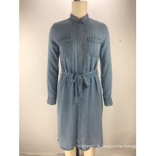 Art und Weise tencel Denimgewebe-Gurtdamen-Hemdkleid