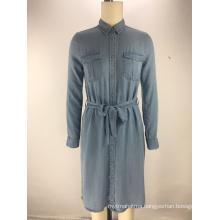 fashion tencel denim fabric belt ladies shirt dress