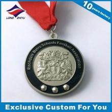 Kundenspezifische Zink-Legierungs-Fußball-Medaille mit Band für Auszeichnung