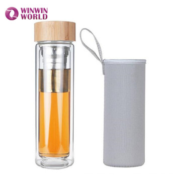 BPA Free Leakproof Wide Mouth Double Wall Glass Travel Tea Mug Tumbler With Stainless Steel Filter And Carry Cover
