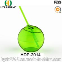 Gobelet à forme de balle PS à paroi unique avec paille (HDP-2014)
