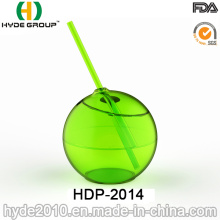 Single Wall PS Ball Shape Tumbler with Straw (HDP-2014)