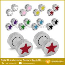 Venta caliente modificado para requisitos particulares tapones de color rosa, azul, rojo, negro estrellas pendientes falso magnéticos