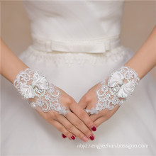 handmade wrist length bridal accessories high quality lace decoration wedding lace gloves