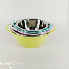 Hot Kitchenware Multi-function 304 Stainless Steel Round Double Drain Fruit Washing Basket