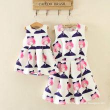 conjunto de ropa de niñas de la moda / conjunto de ropa de la familia / vestido de mamá y niñas conjunto