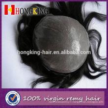 Cheveux vierges Super Mince Peau Invisible Noeud Hommes Toupee